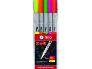 Microfibra liner 038 x 5 surtido Fluo Filgo
