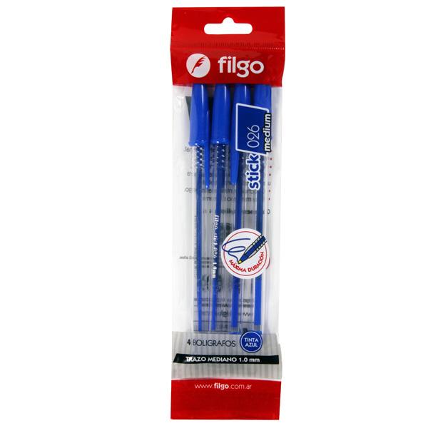 Boligrafo Filgo Stick 026 Medium x 4