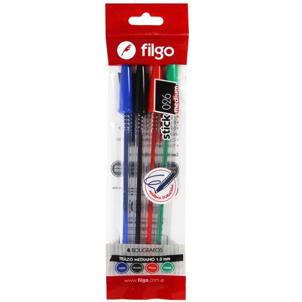 Boligrafo Filgo Stick 026 Medium x 4 Surtido