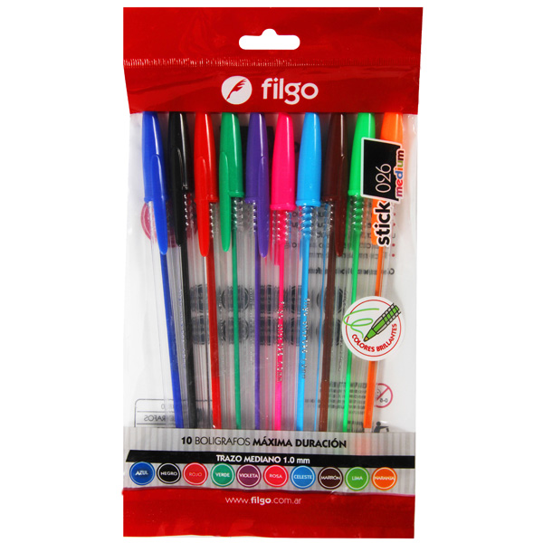 Boligrafo Filgo Stick 026 Medium colores x 10 Surtido
