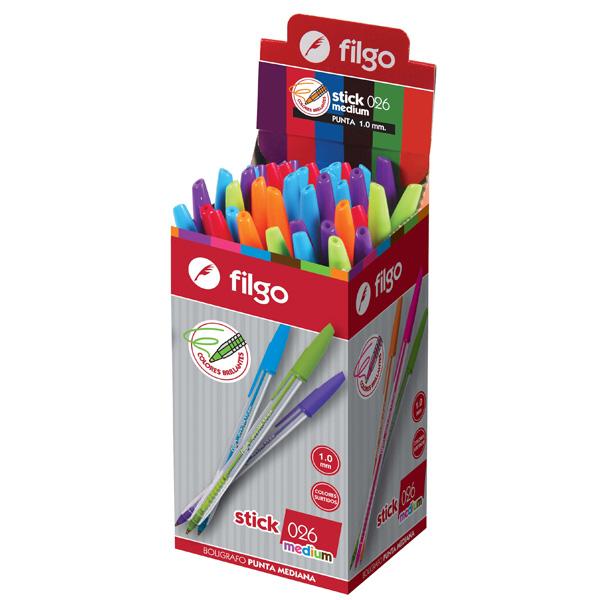 Boligrafo Filgo Stick 026 Medium Colores x 50 surtido